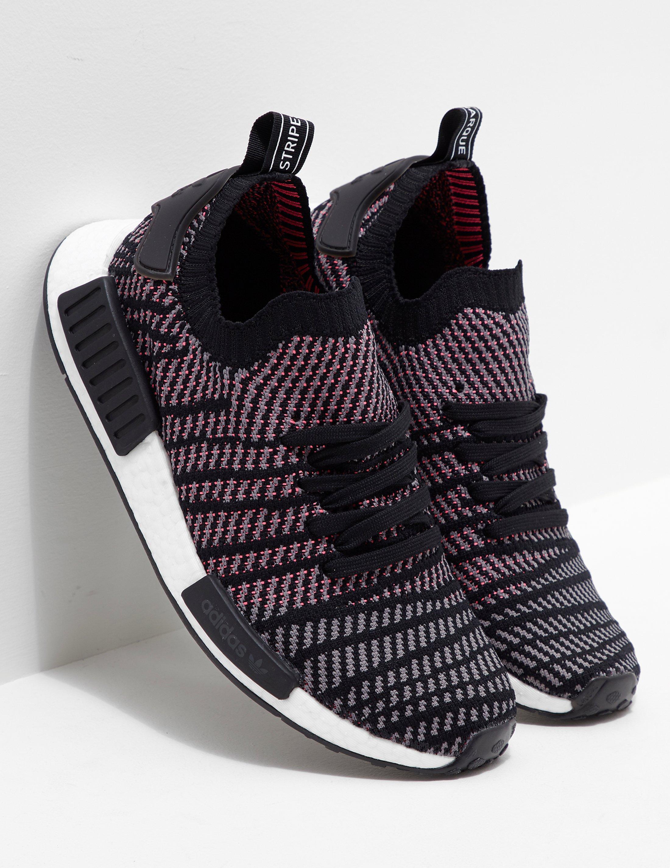 Adidas originali Uomo nmd r1 stlt primeknit nero / rosa in nero
