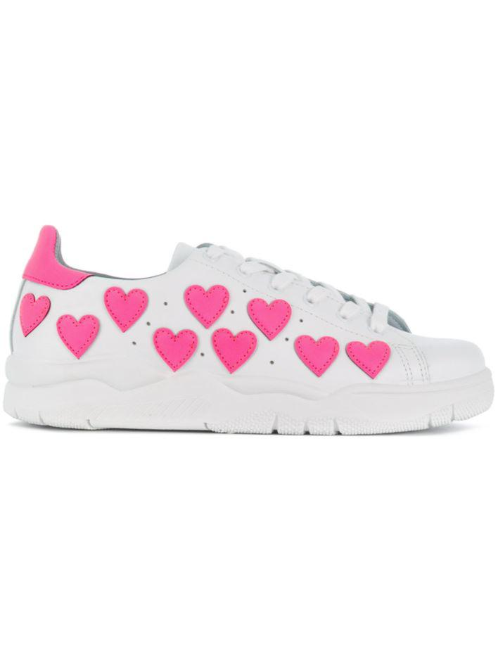 Chiara Ferragni Roger leather snaker with glitter hearts women's Shoes (Trainers) in Free Shipping Cost iNrVdtNO