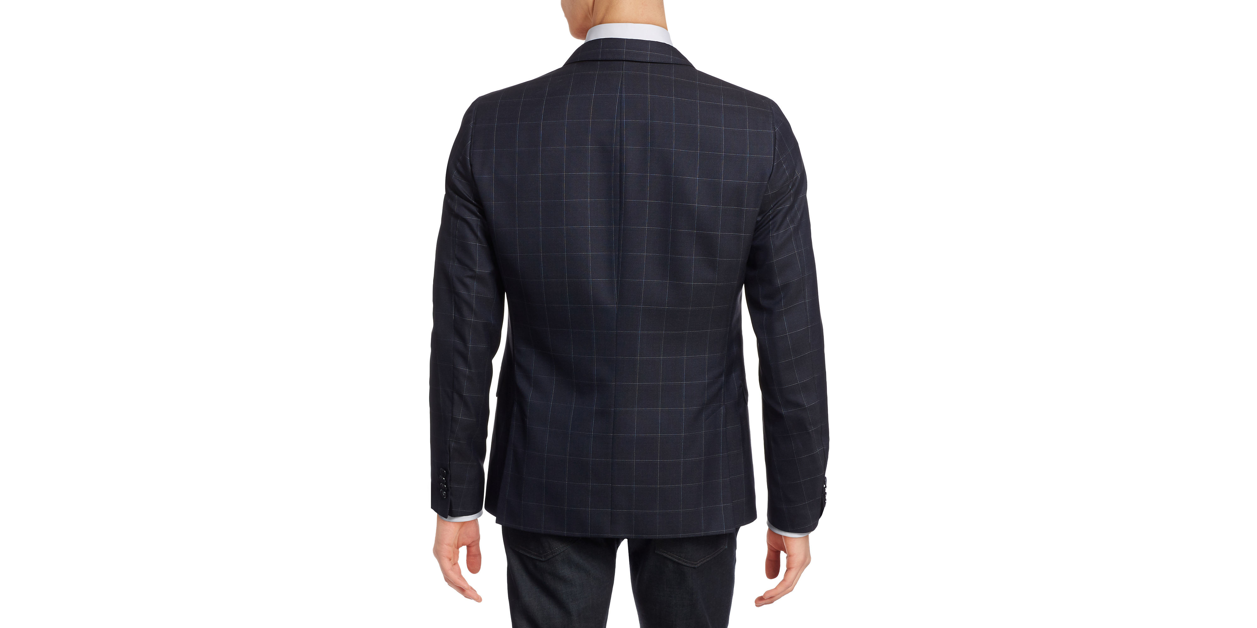 strellson slim fit grid check wool silk sports jacket in. Black Bedroom Furniture Sets. Home Design Ideas