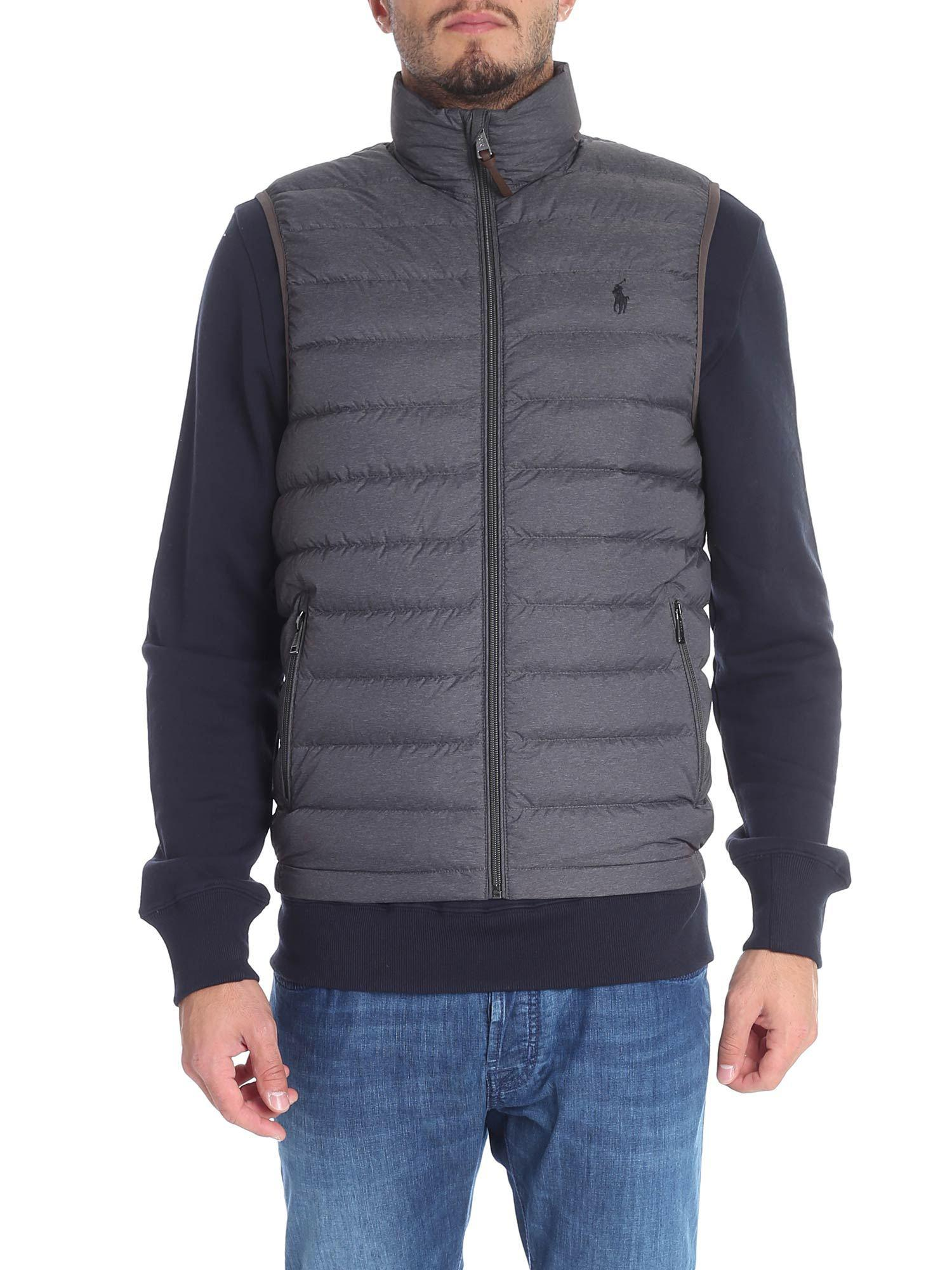 8d451820c598 Lyst - Polo Ralph Lauren Dark Grey Down Jacket With Logo Embroidery ...