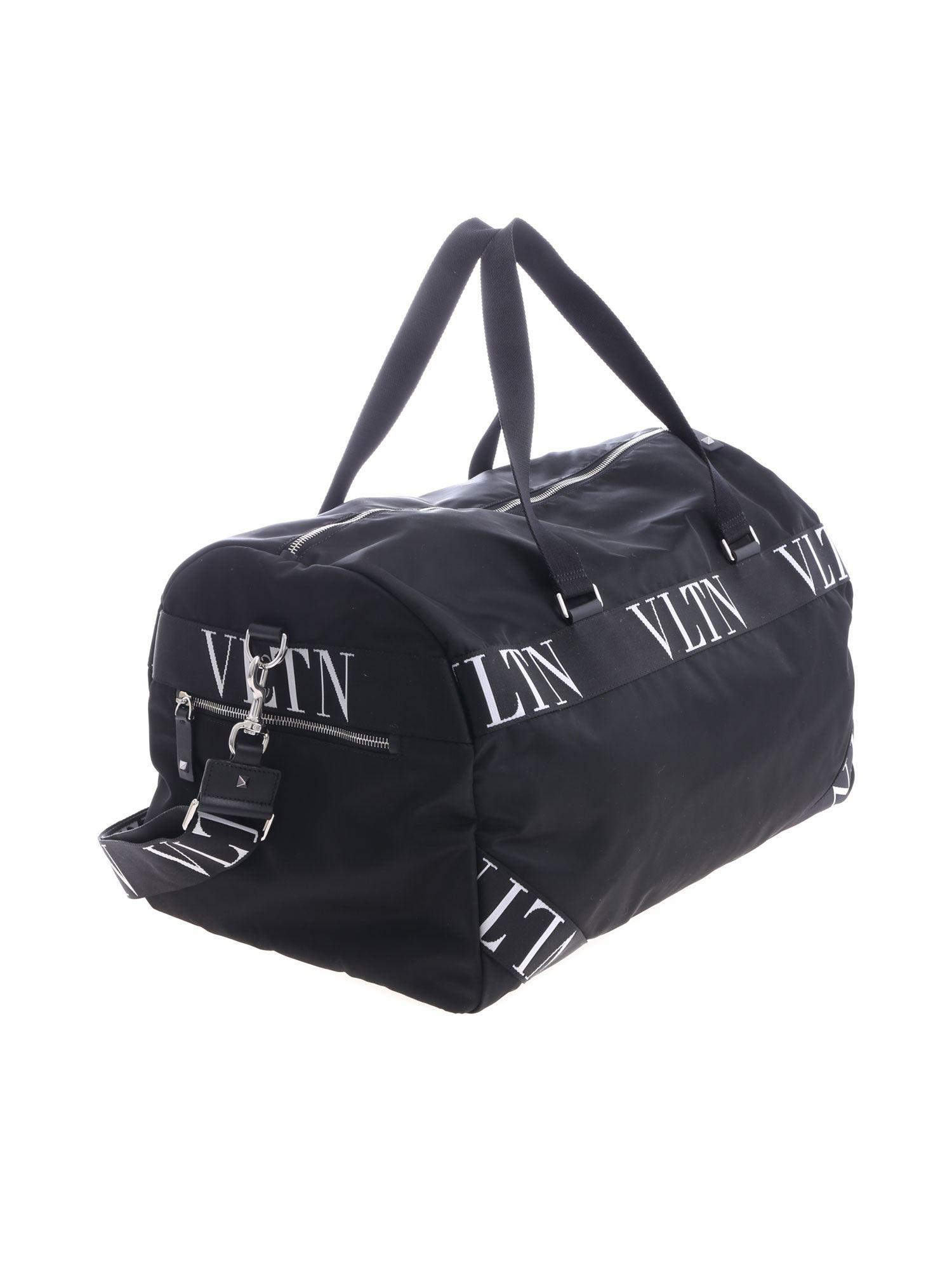 6b9be97ee390 Valentino - Duffle Bag In Black With Branded Inserts for Men - Lyst. View  fullscreen