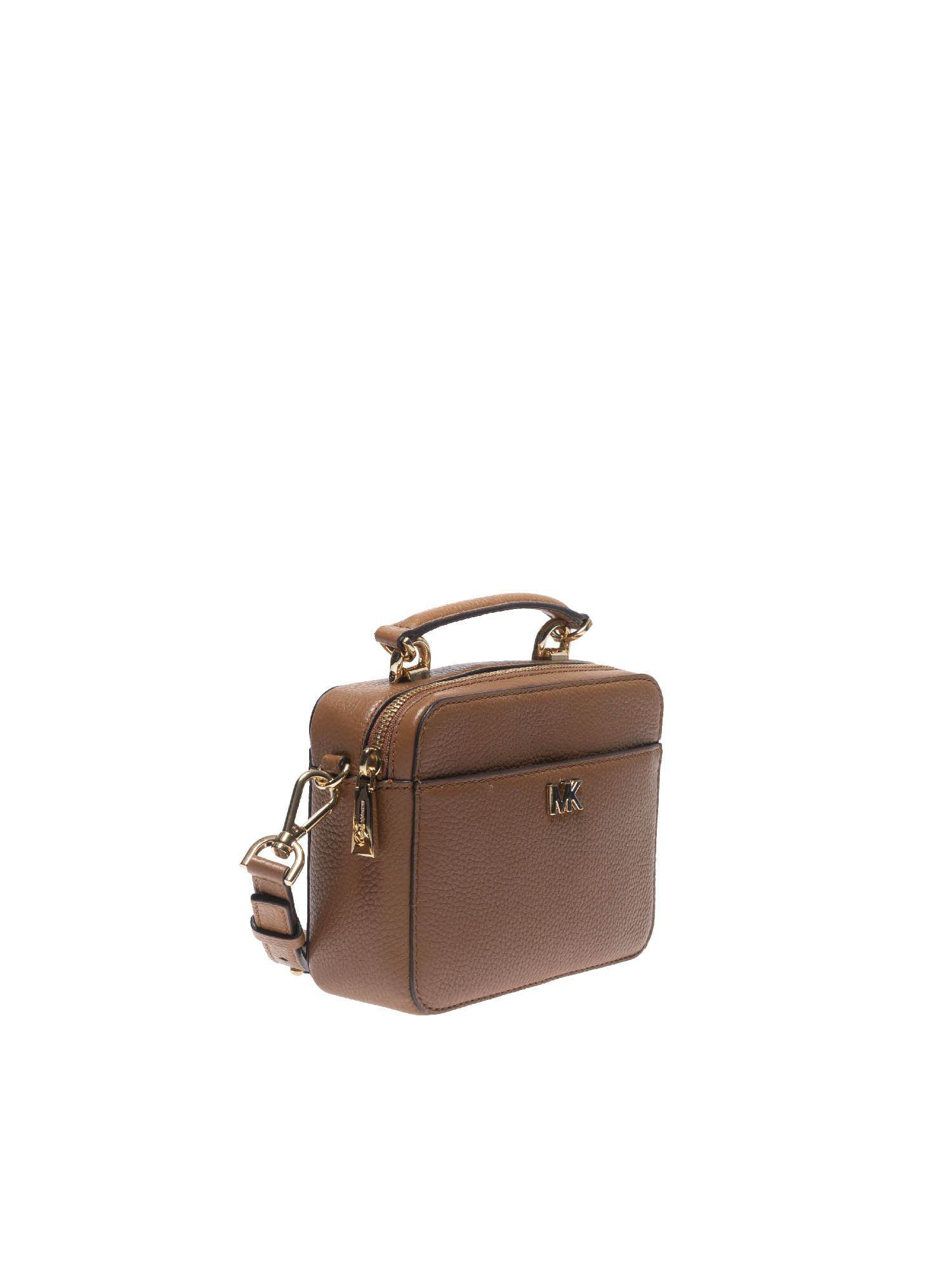 ca26d49dd4 Lyst - Michael Kors Brown Leather Shoulder Bag With Golden Logo in Brown