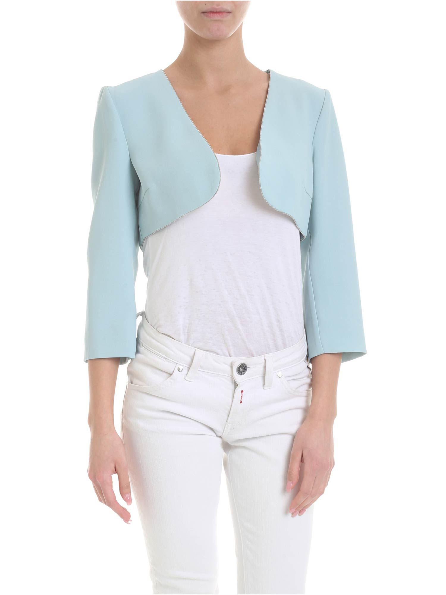 2e706175f367c9 Lyst - Patrizia Pepe Shrug Sweater In Light Blue With Beads in Blue
