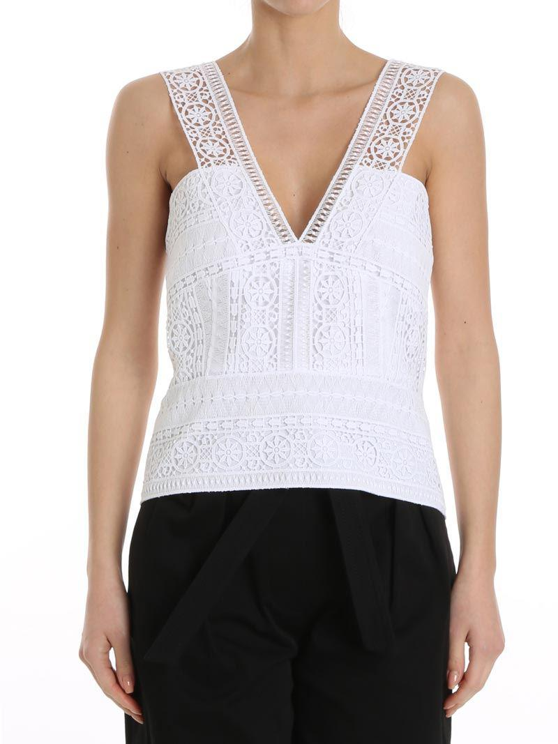 White macramé top Alberta Ferretti Outlet Reliable Clearance Authentic New Styles Cheap Price Buy Cheap Websites lZ0EKu6NtM