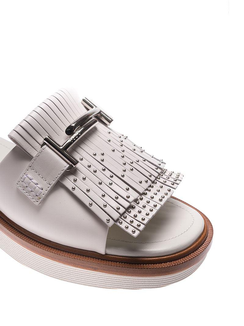 White sandals with fringes and studs Tod's LHwnY8O