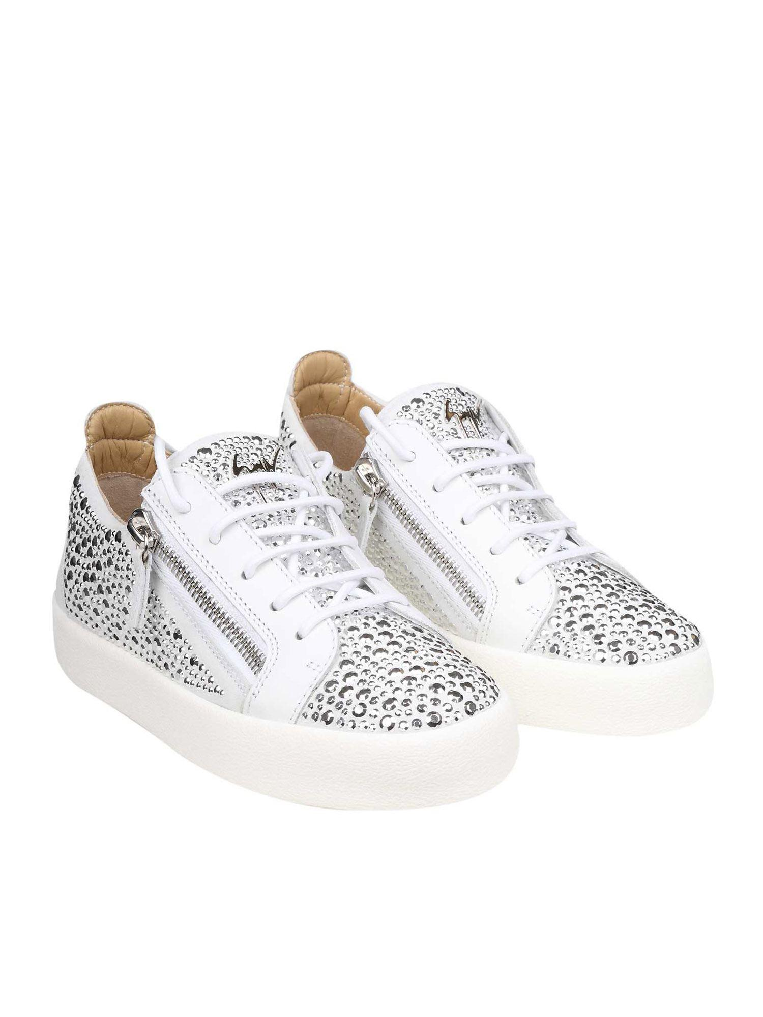 e9dd484ad869 Giuseppe Zanotti Gail Crystal White Leather Sneakers in White - Lyst