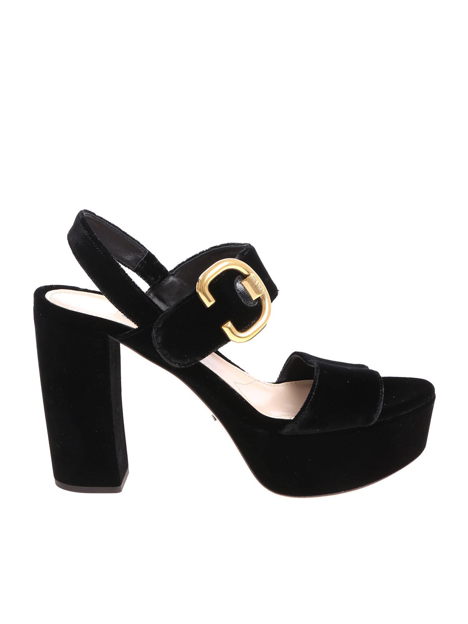 44a4a8d33318 Lyst - Prada Black Velvet Sandals in Black - Save 29%