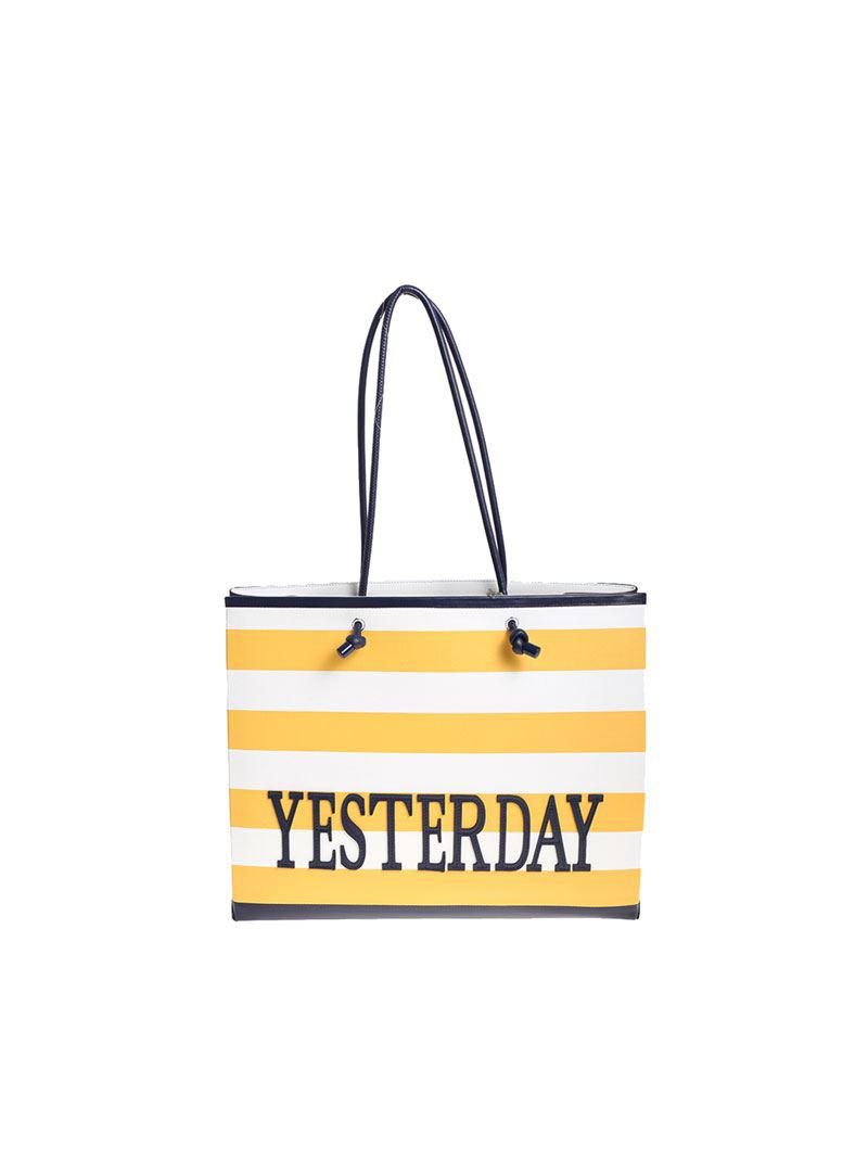Alberta Ferretti Yellow and white striped Yesterday shopper 5skv8fdw
