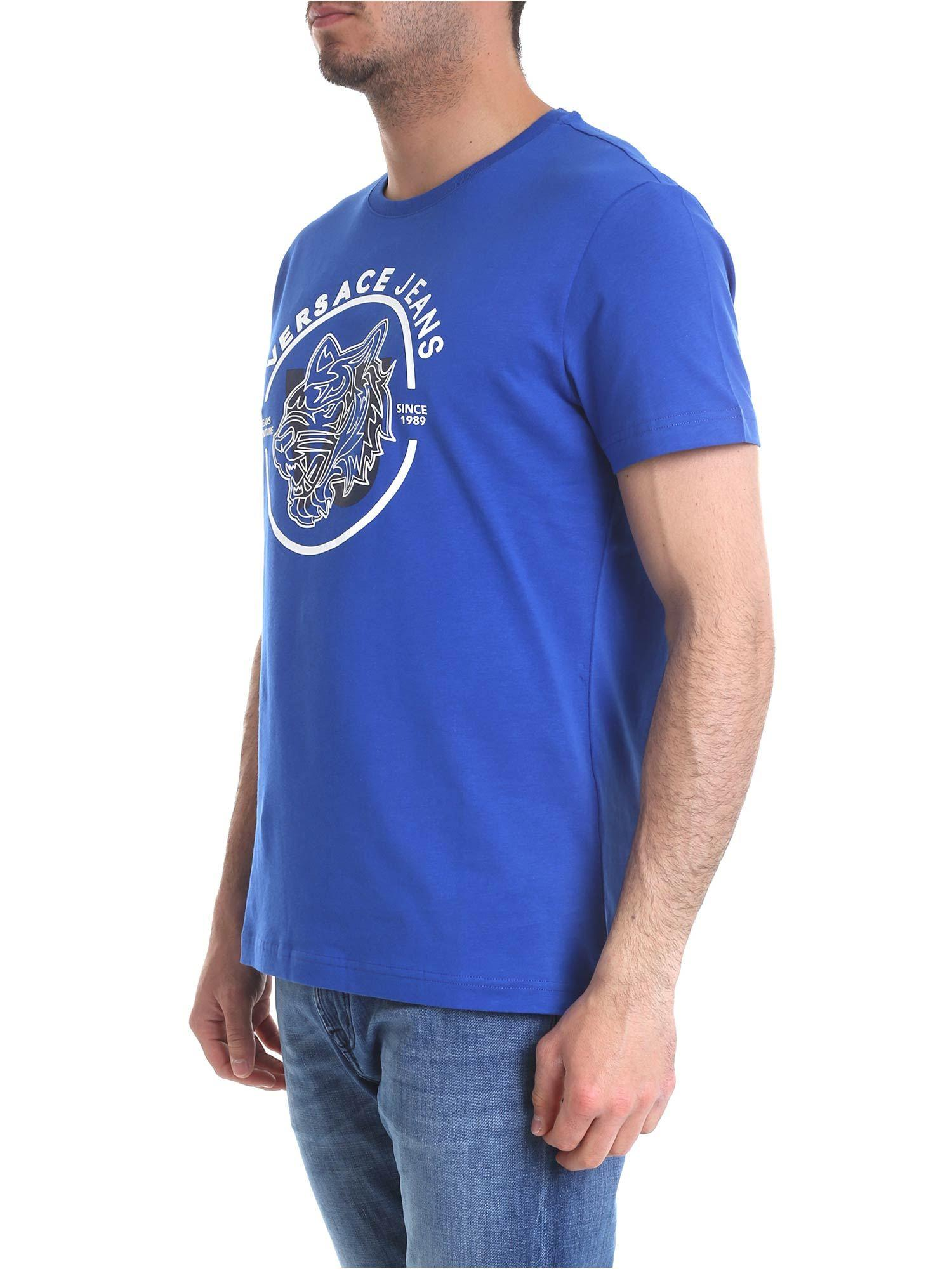 11500c36 Lyst - Versace Jeans Bright Blue T-shirt With White Logo Print in Blue for  Men