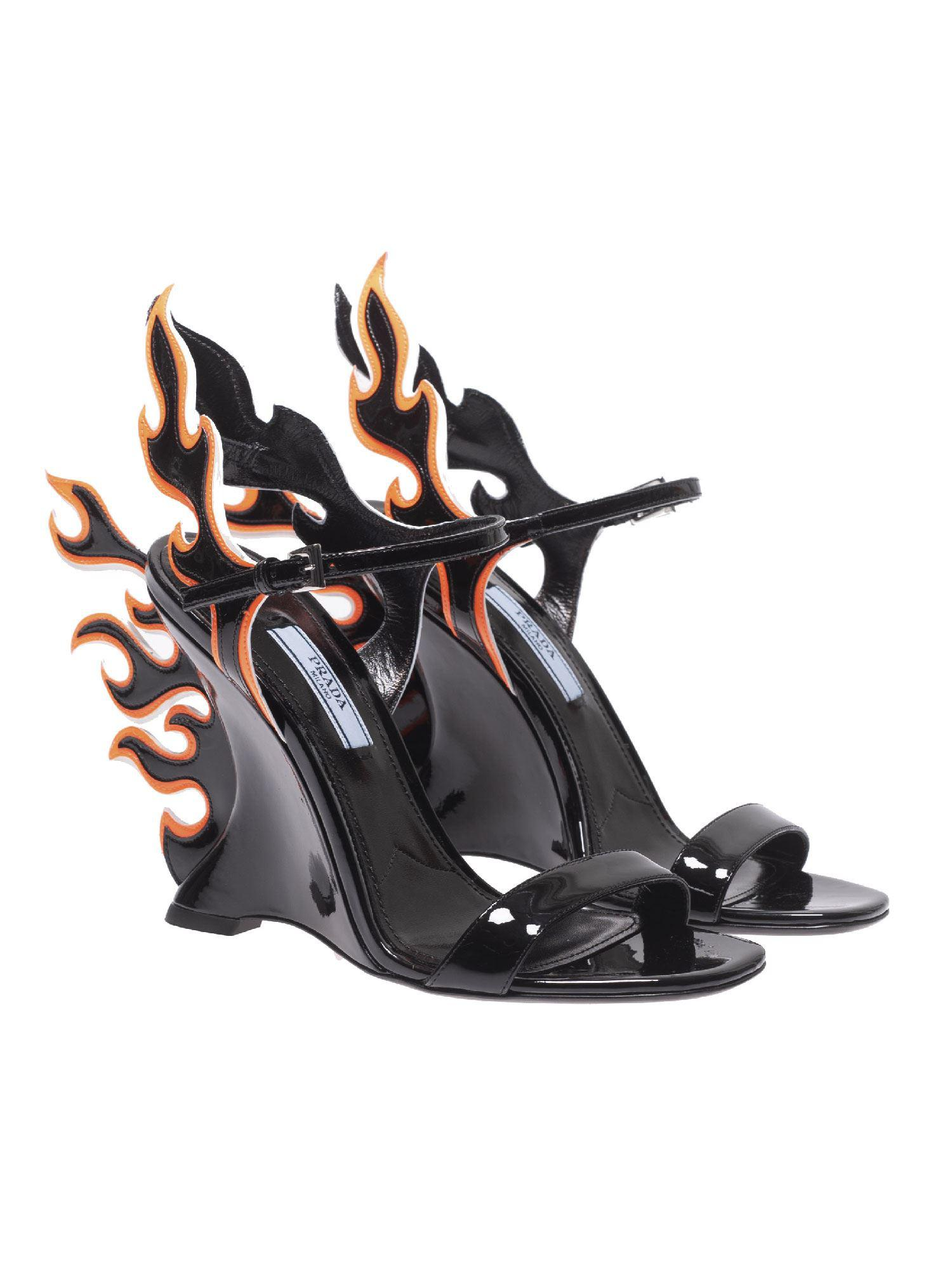 1f817c00aed0 Prada Patent Leather Sandals With Flames - Save 8% - Lyst