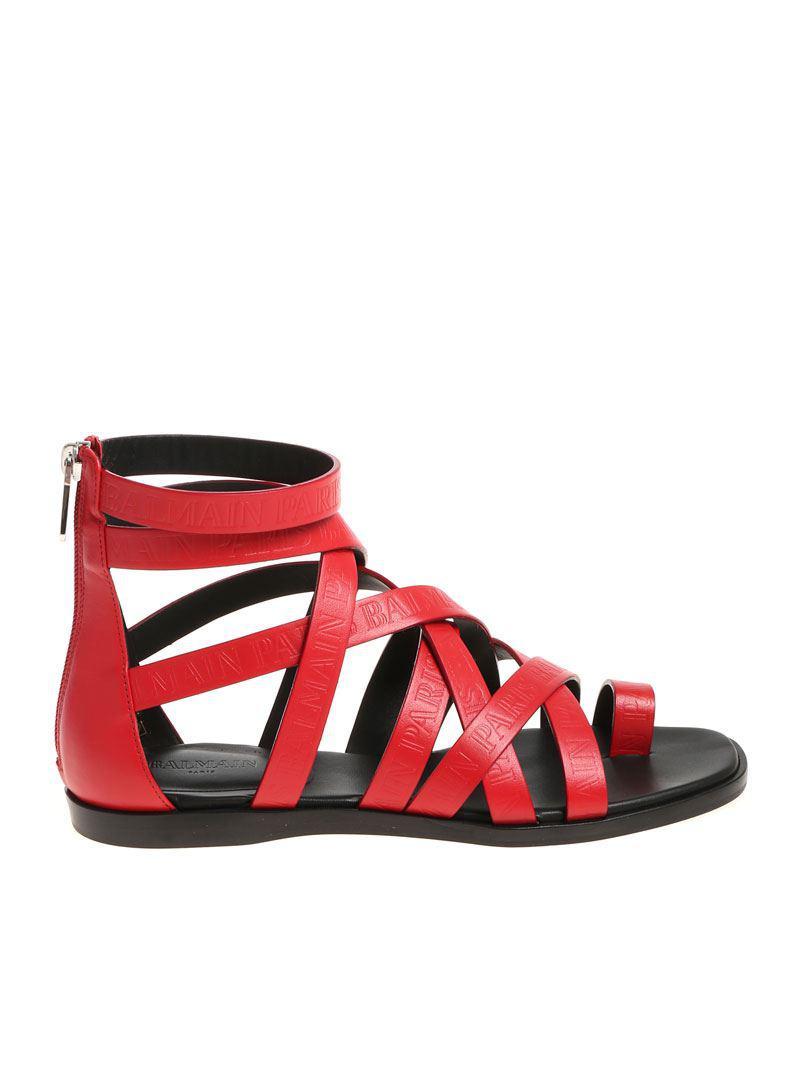 Red thong sandals Balmain ewT72