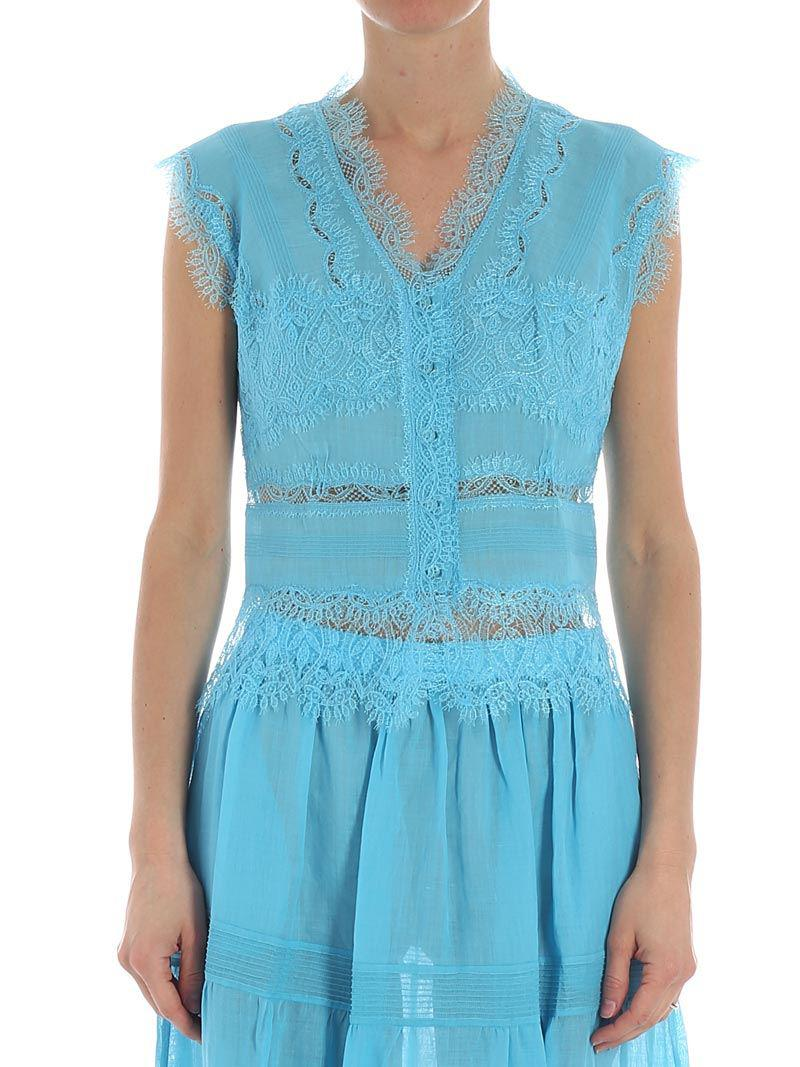 Light blue top with lace inserts Ermanno Scervino Cheap Sale View 2XD0iM7eM8