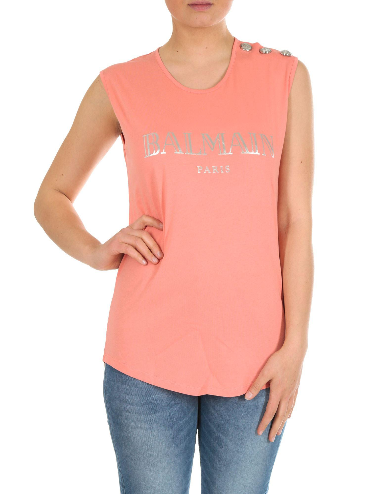 1b807a30f82e39 Balmain Pink Sleeveless Top With Logo in Pink - Lyst