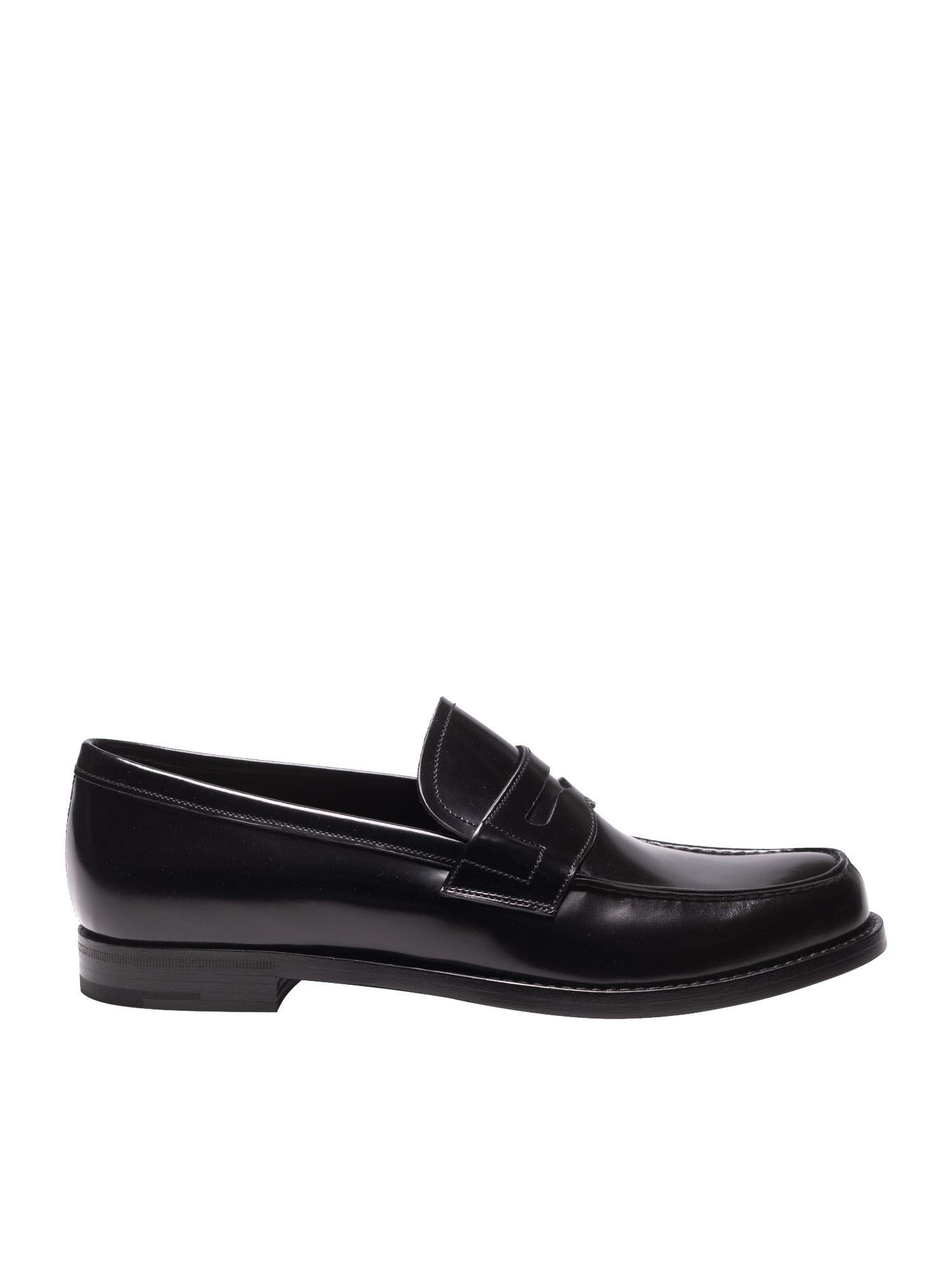 b348f43a5c9 Prada Black Brushed Leather Loafers in Black for Men - Save 25% - Lyst