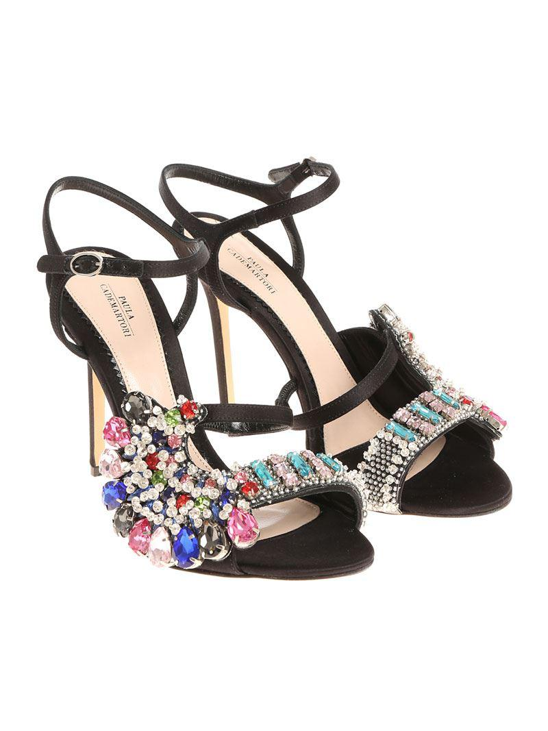 Black satin sandals with rhinestones Paula Cademartori ejQYg6c6