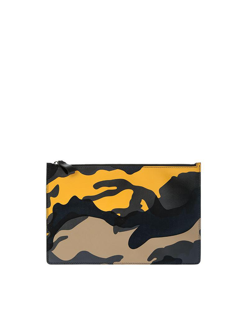 Valentino Black and yellow camouflage clutch VkxMM7akn