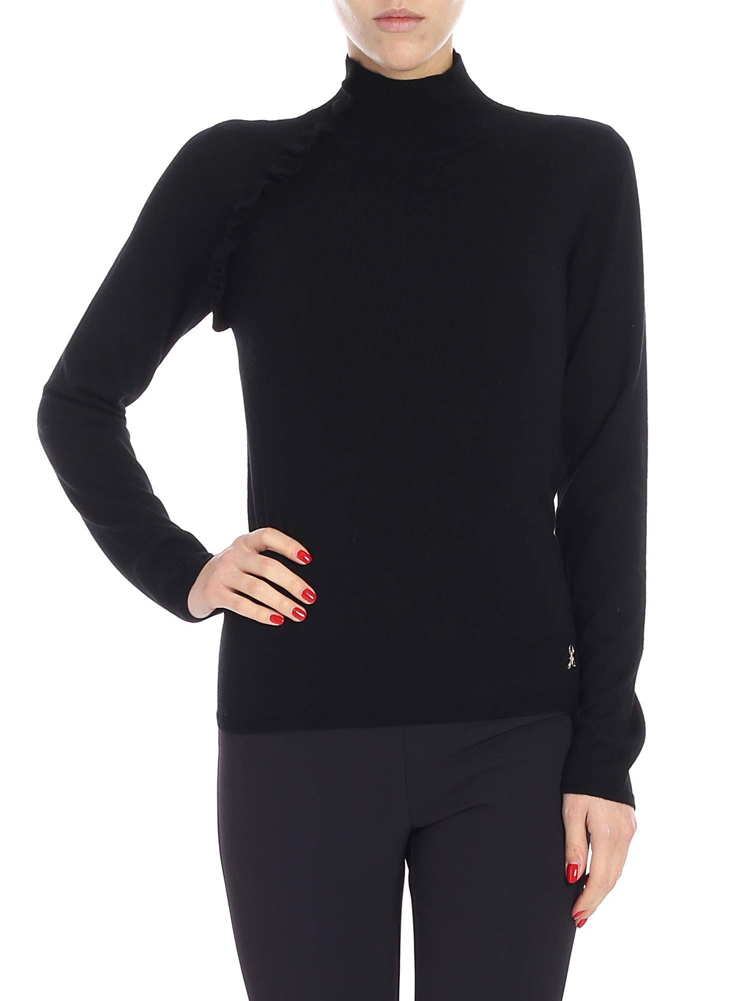 94e6dca948 Patrizia Pepe Black Turtleneck Sweater in Black - Lyst