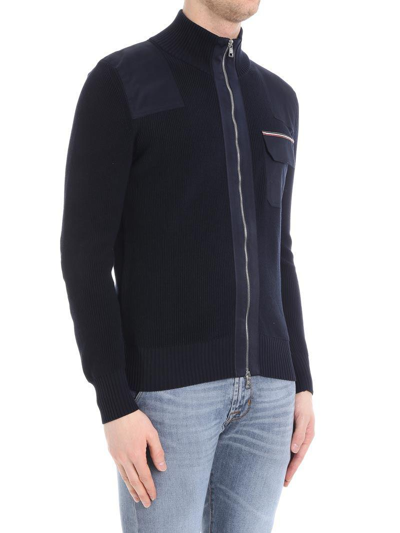 Blue tricot cardigan with logo Moncler Free Shipping Newest 7Wv8shSa5