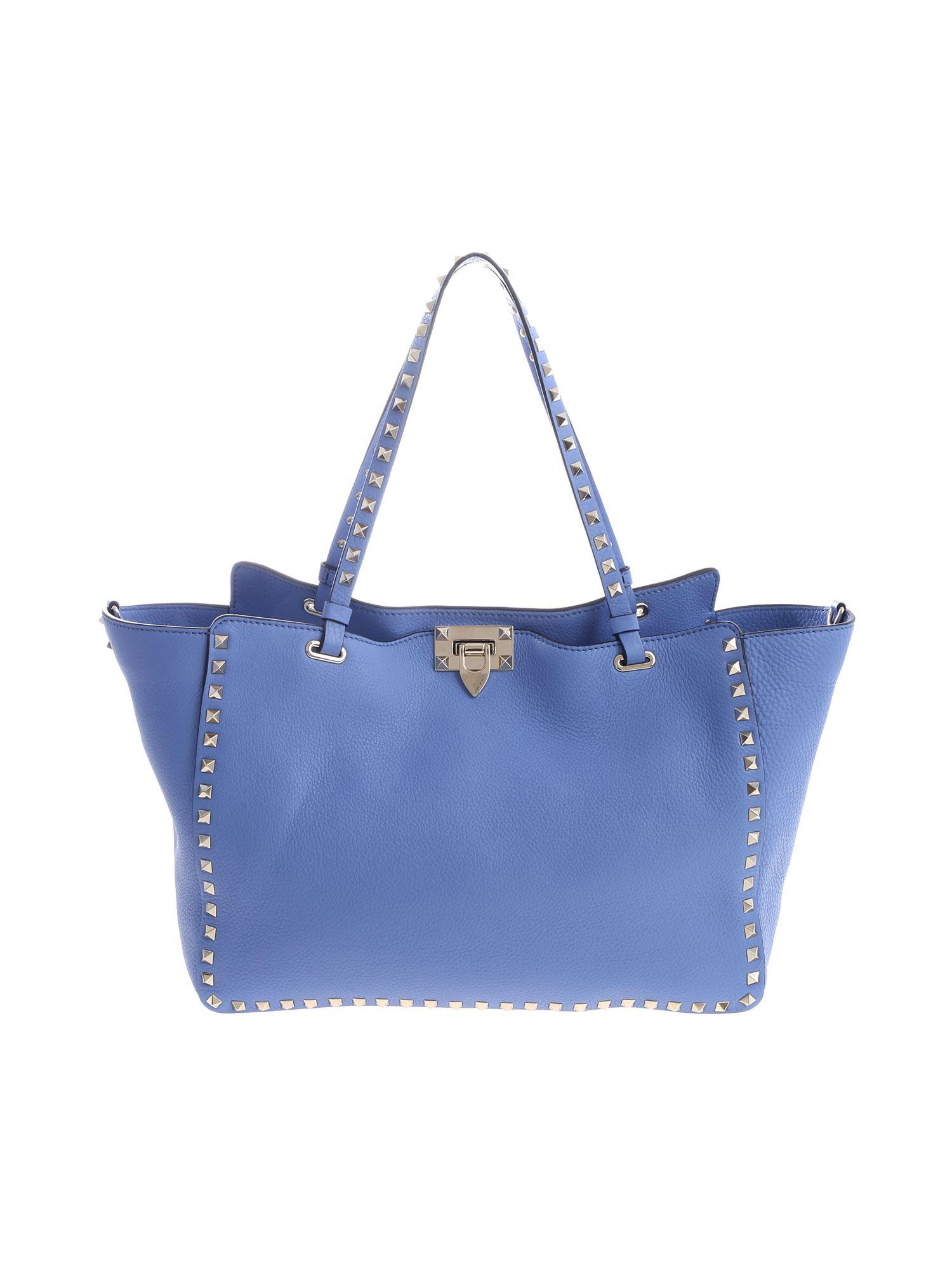 Lyst - Valentino Rockstude Tote Handbag In Light Blue in Blue 8f4bbce42e4ec