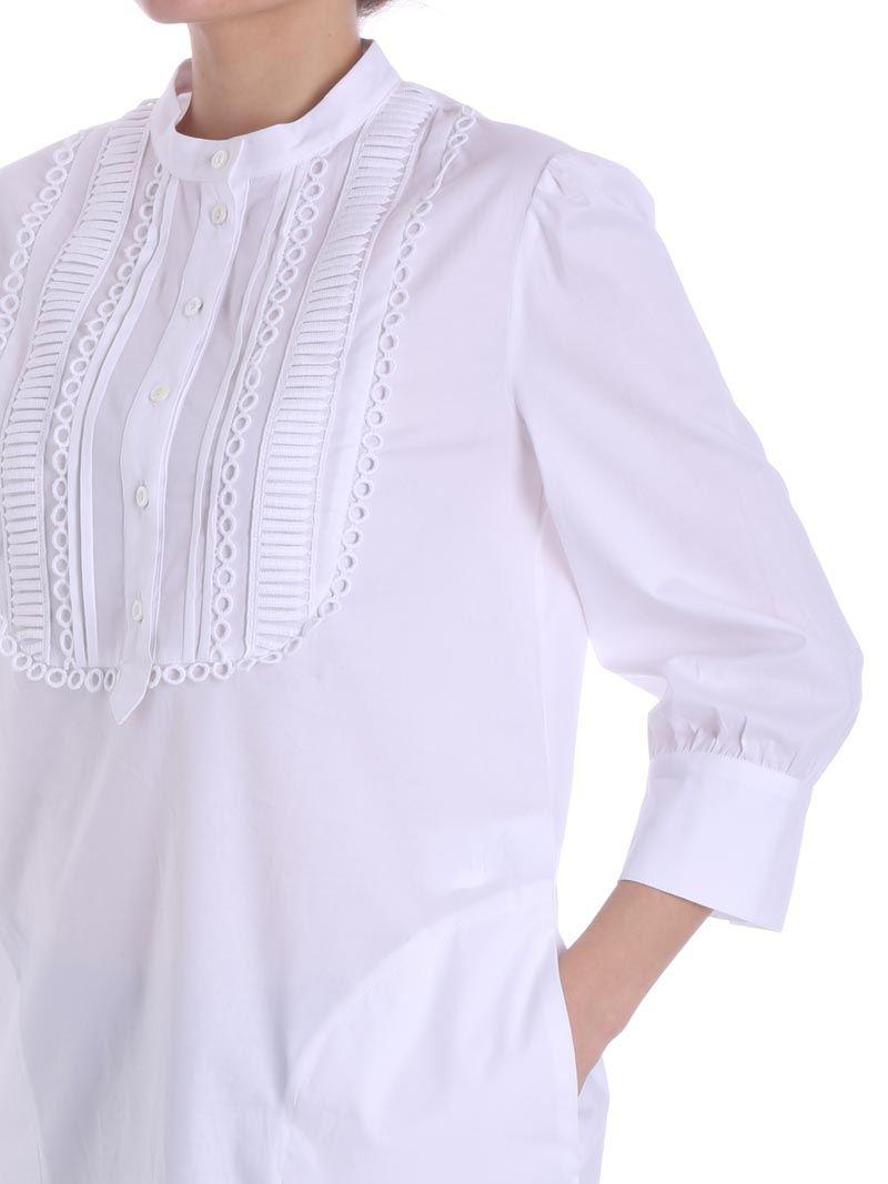 White blouse with plastron Ki6? Who are you? Free Shipping Ebay Clearance Lowest Price Clearance Buy M8fa8i50Ev
