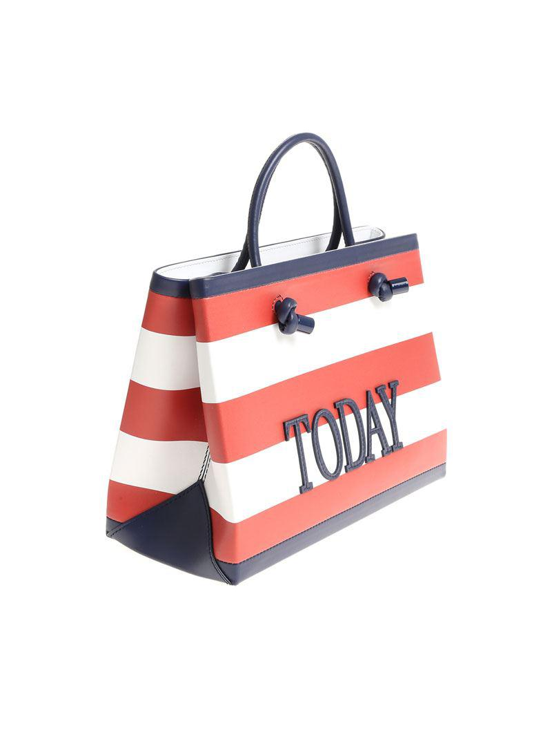 Red and white Today striped shoulder bag Alberta Ferretti Iy1ErCe