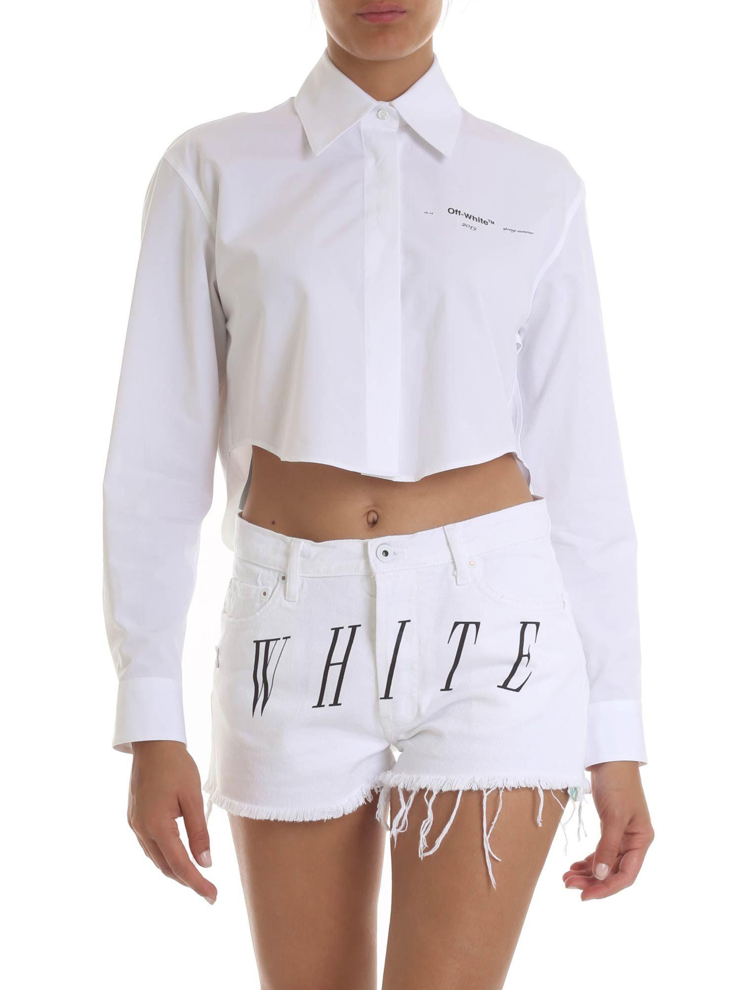 577fa15e24 Off-White c o Virgil Abloh Crop Shirt In White With Logo Print in ...