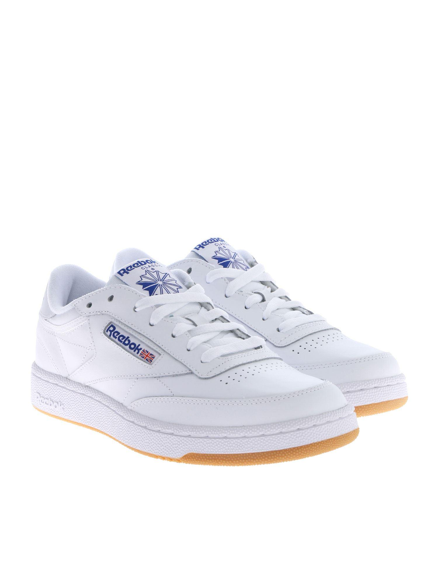 5811d166ffa Lyst - Reebok Club C 85 White Sneakers With Blue Logos in White for Men