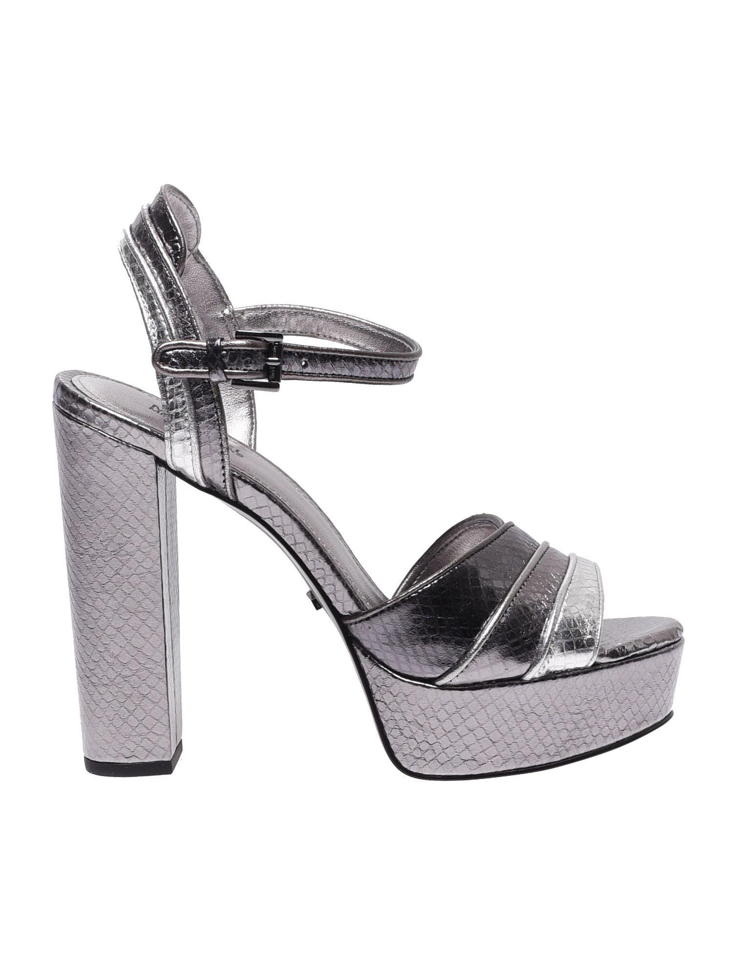 881c6fb9afe8 Lyst - Michael Kors Harper Platform Sandals In Silver Leather in ...
