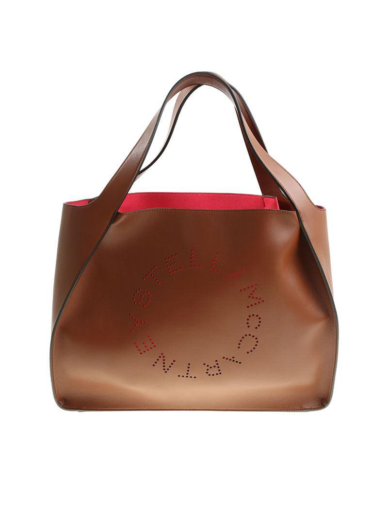 Lyst - Stella McCartney Brown Colored Tote Bag With Pierced Logo in ... b2d0539419c15