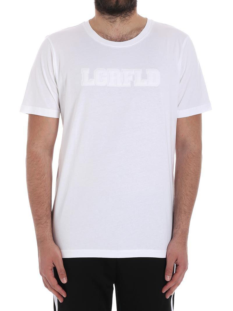 dac259d3 Karl Lagerfeld White Cotton T-shirt With Logo in White for Men - Lyst