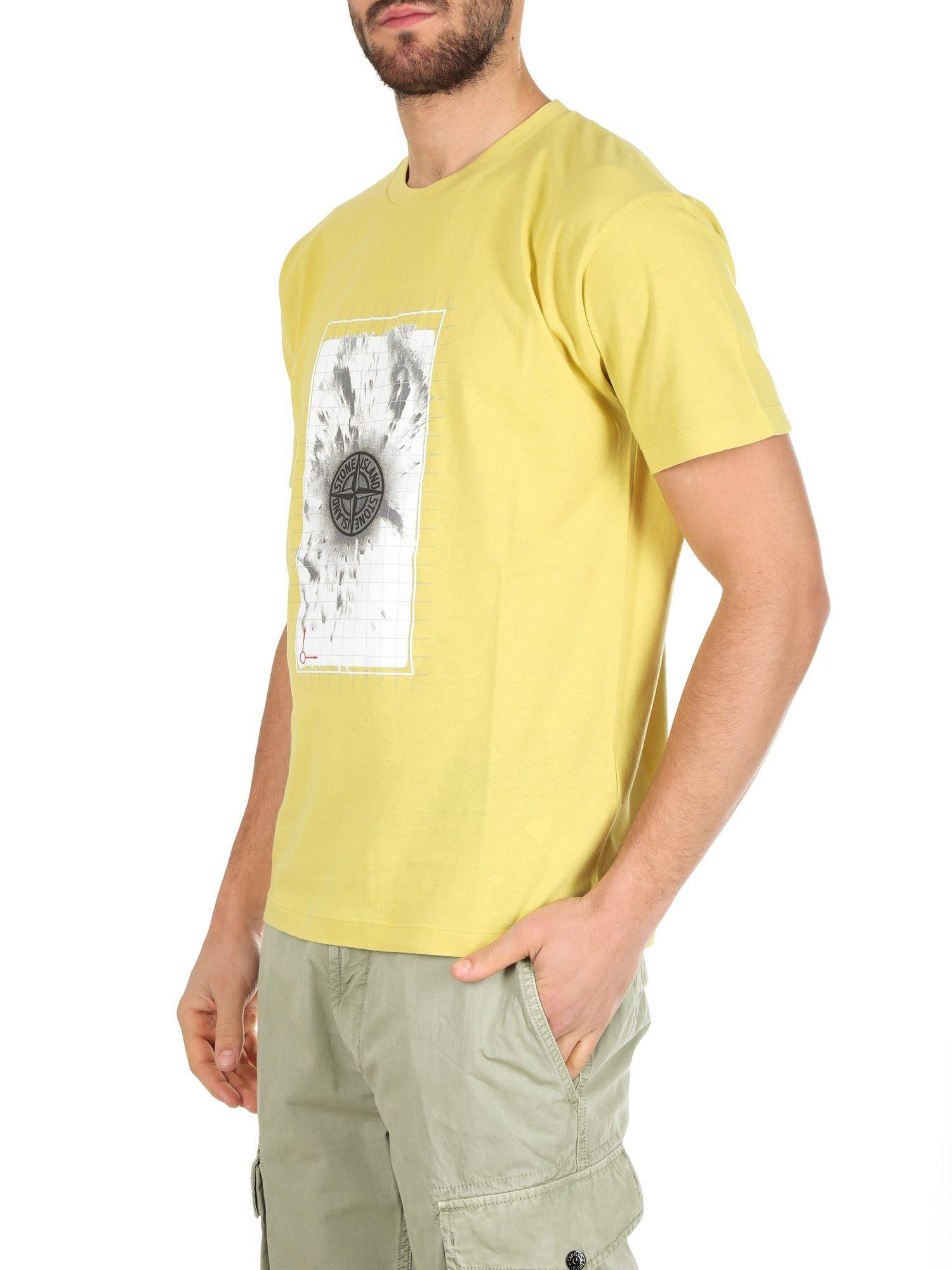 315bba885bd8 Lyst - Stone Island Yellow T-shirt With Graphic Five Print in Yellow for Men