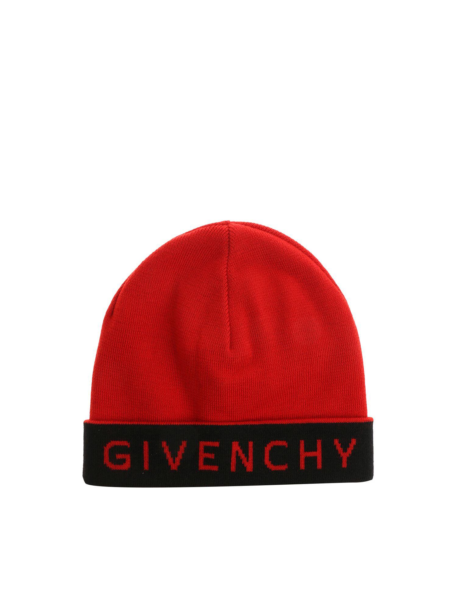 Lyst - Givenchy Logo Wool Beanie in Red for Men f825d91ac6ca