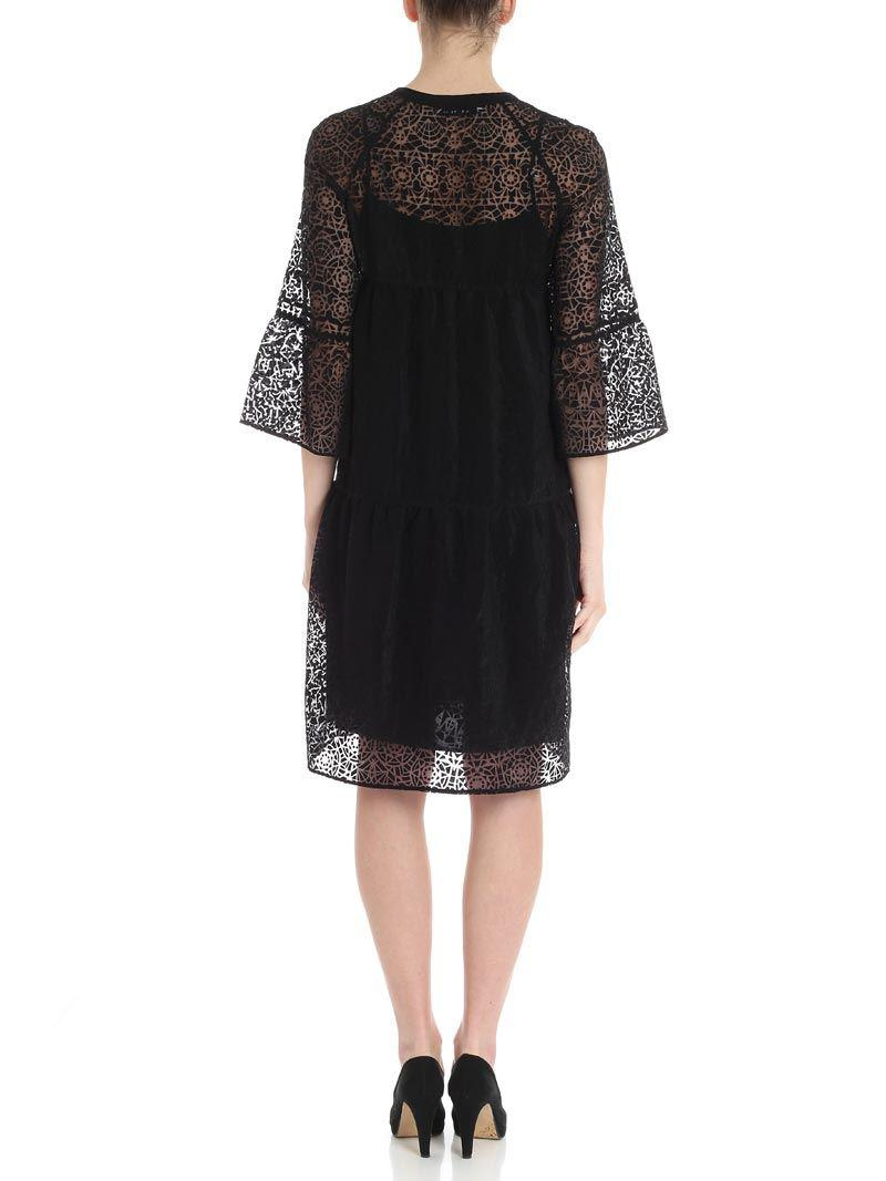 Black printed tulle dress Caractere 1q2gwx