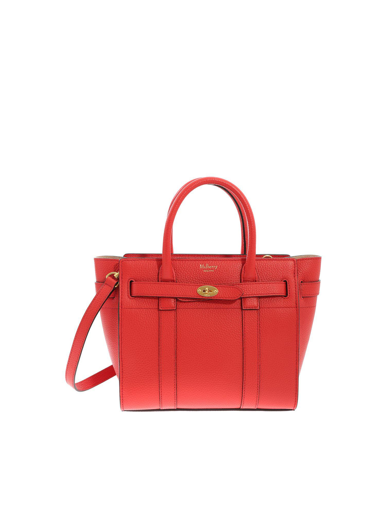 2475c838989 Mulberry Mini Zipped Bayswater Red Bag in Red - Lyst