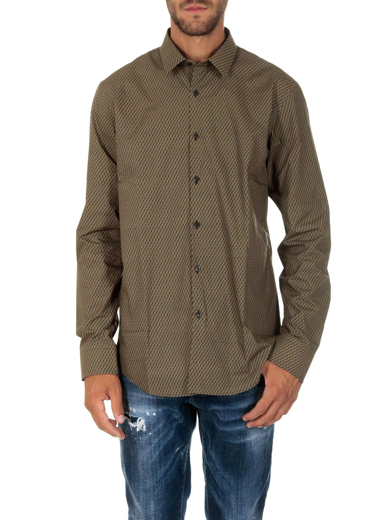 c8e810f4e0ee Fendi Beige And Brown Monogram Cotton Shirt in Natural for Men - Lyst