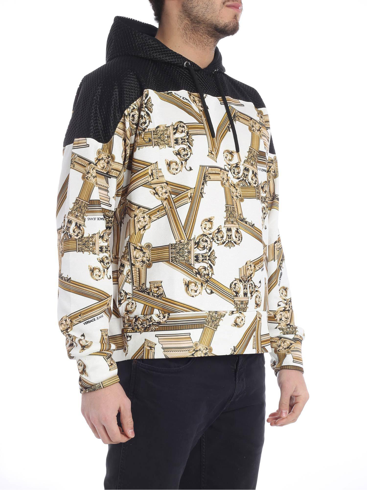e3372fb7 Versace Jeans Black And White Printed Sweatshirt in Black for Men - Lyst