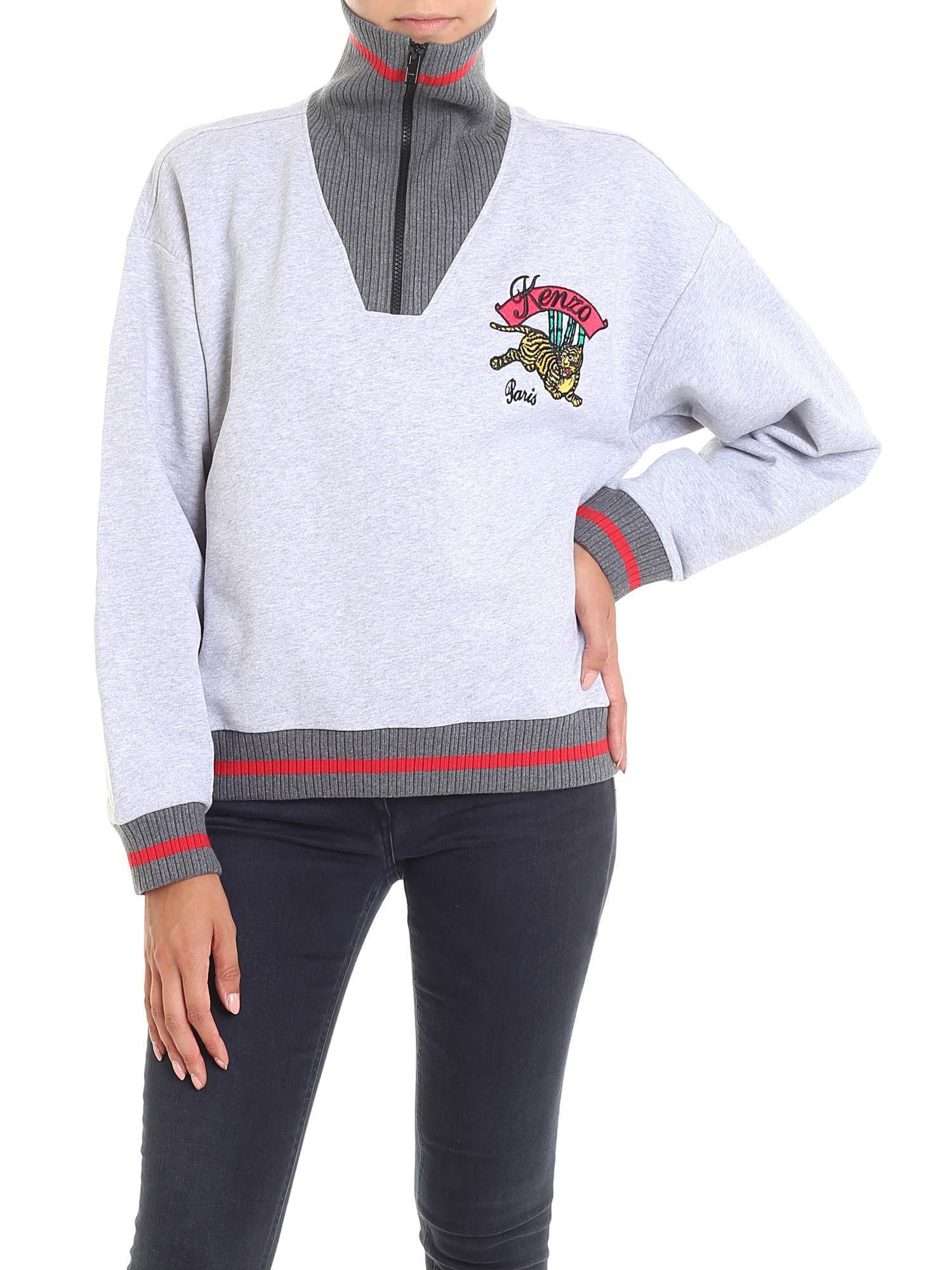 4b973b92 KENZO Grey Melange Bamboo Tiger Boxy Sweatshirt in Gray - Lyst