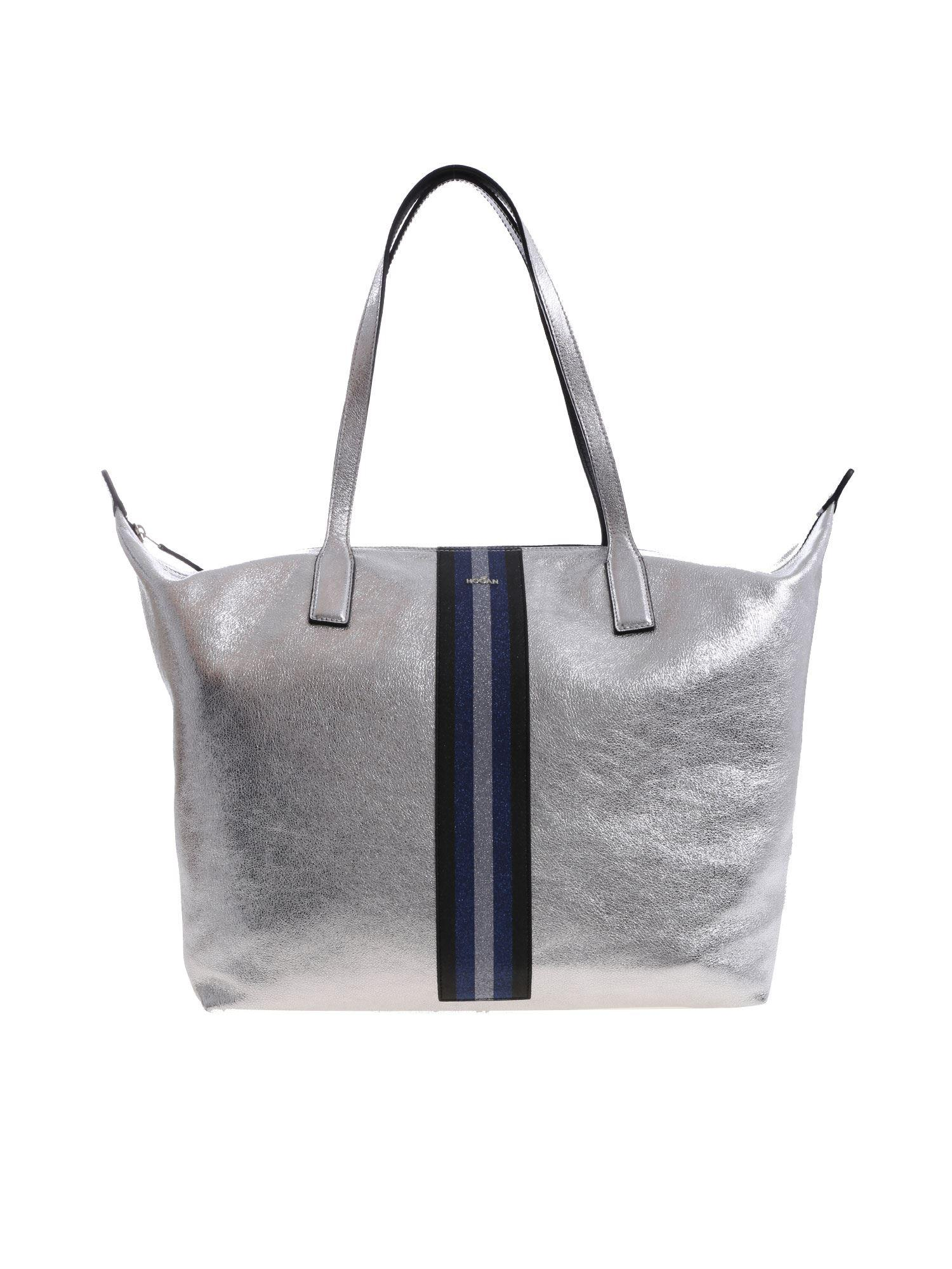 7e9048ba6dc Lyst - Hogan Silver Bag With Glitter Details in Metallic