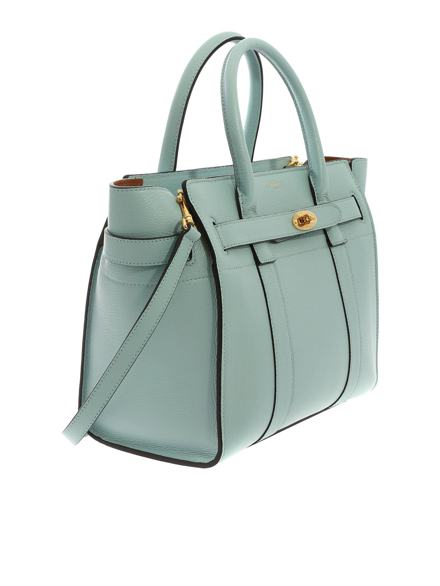Mulberry - Small Zipped Bayswater Bag In Light Blue Leather - Lyst. View  fullscreen d90f76e122f77