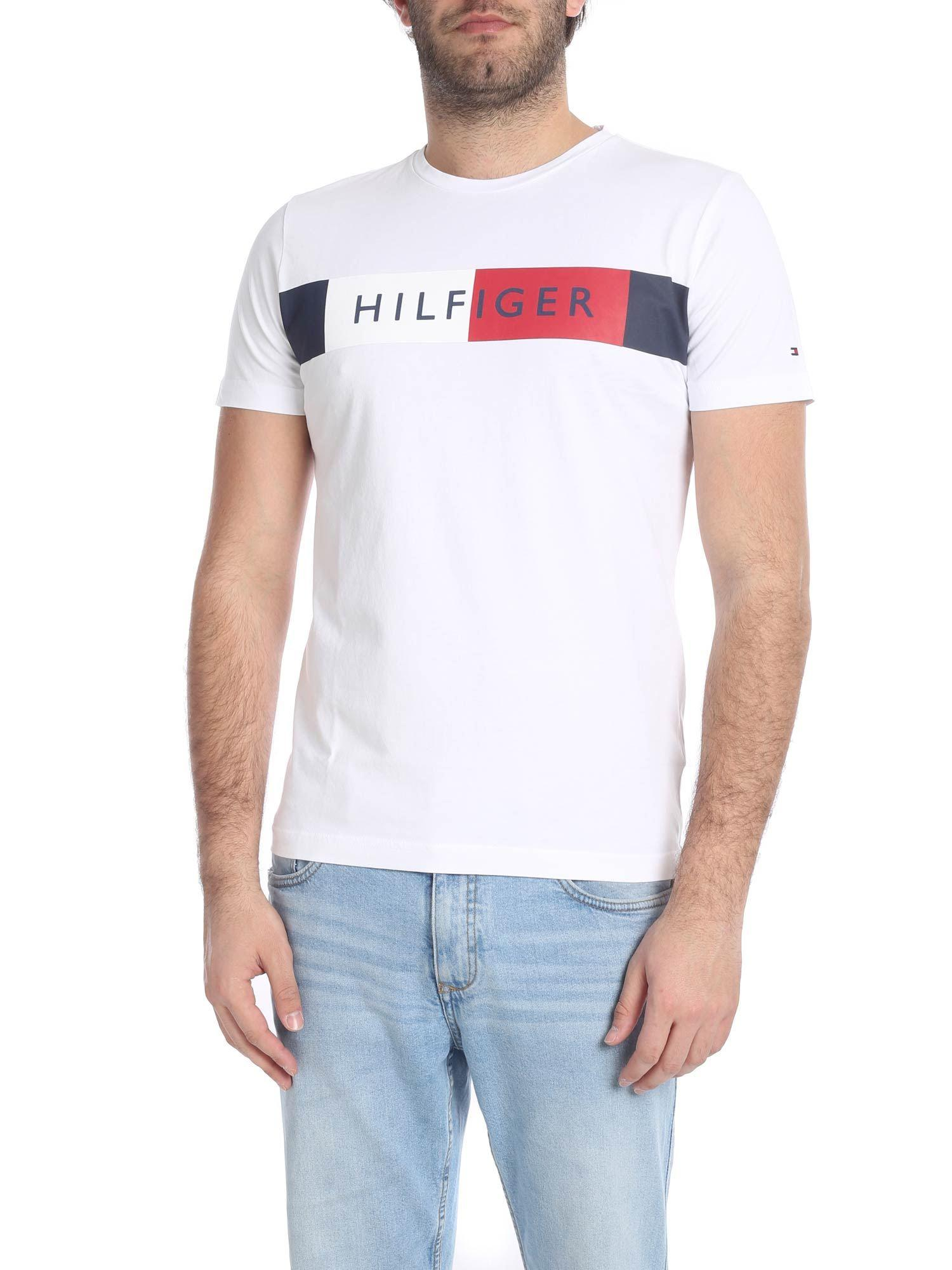 bc7d96e2 Tommy Hilfiger White Crew-neck T-shirt With Logo in White for Men - Lyst