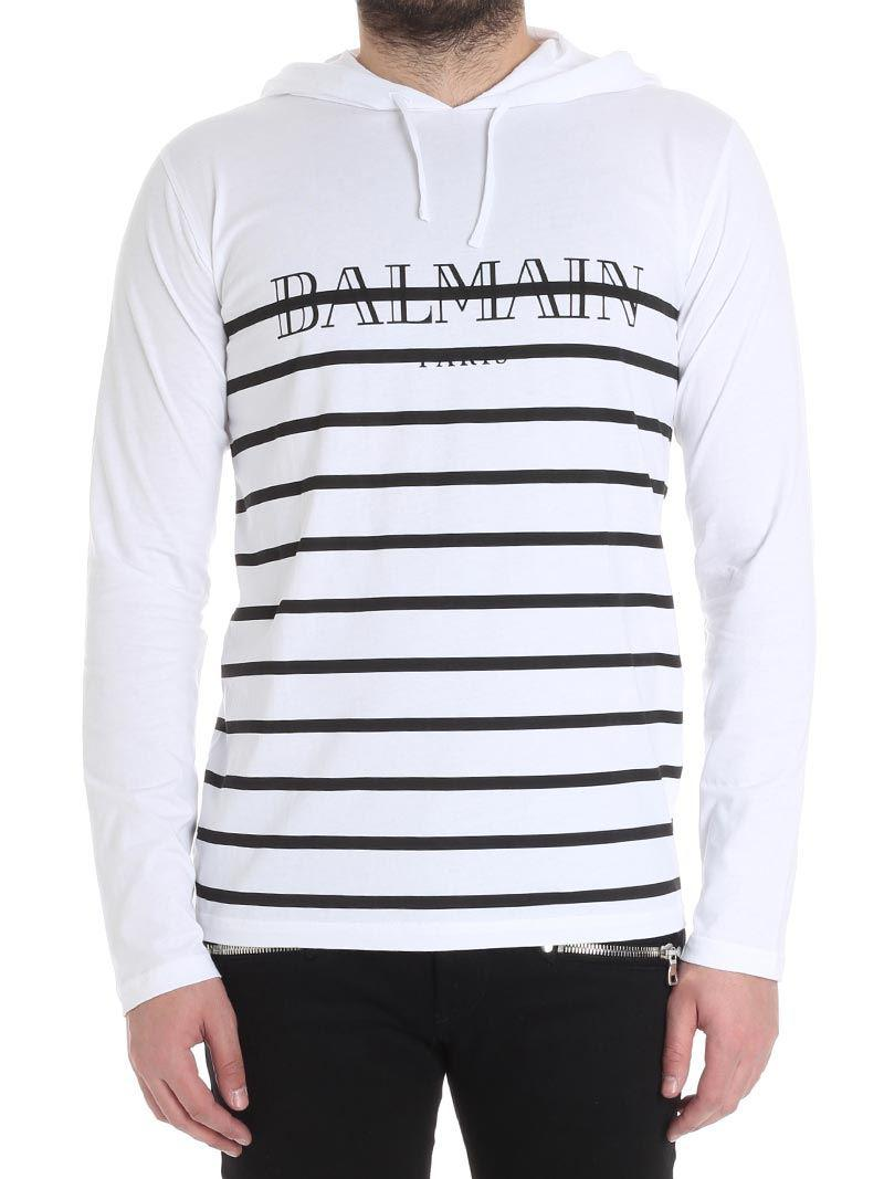 White and black hooded T-shirt Balmain Countdown Package Clearance Websites Rkmiw2ibr