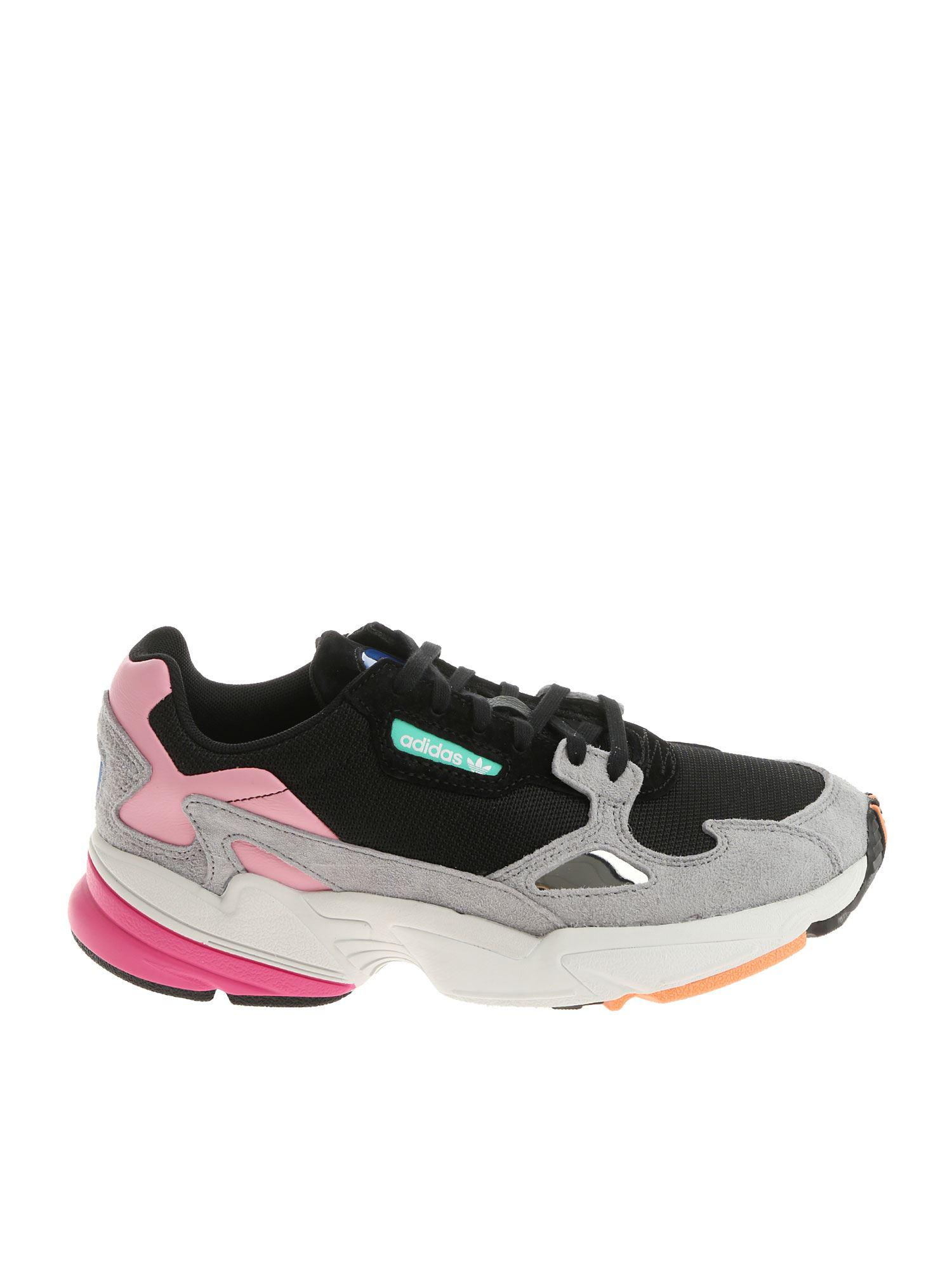 low priced 45c3d d5022 adidas Originals Black Pink And Grey Falcon W Sneakers in Black - Lyst