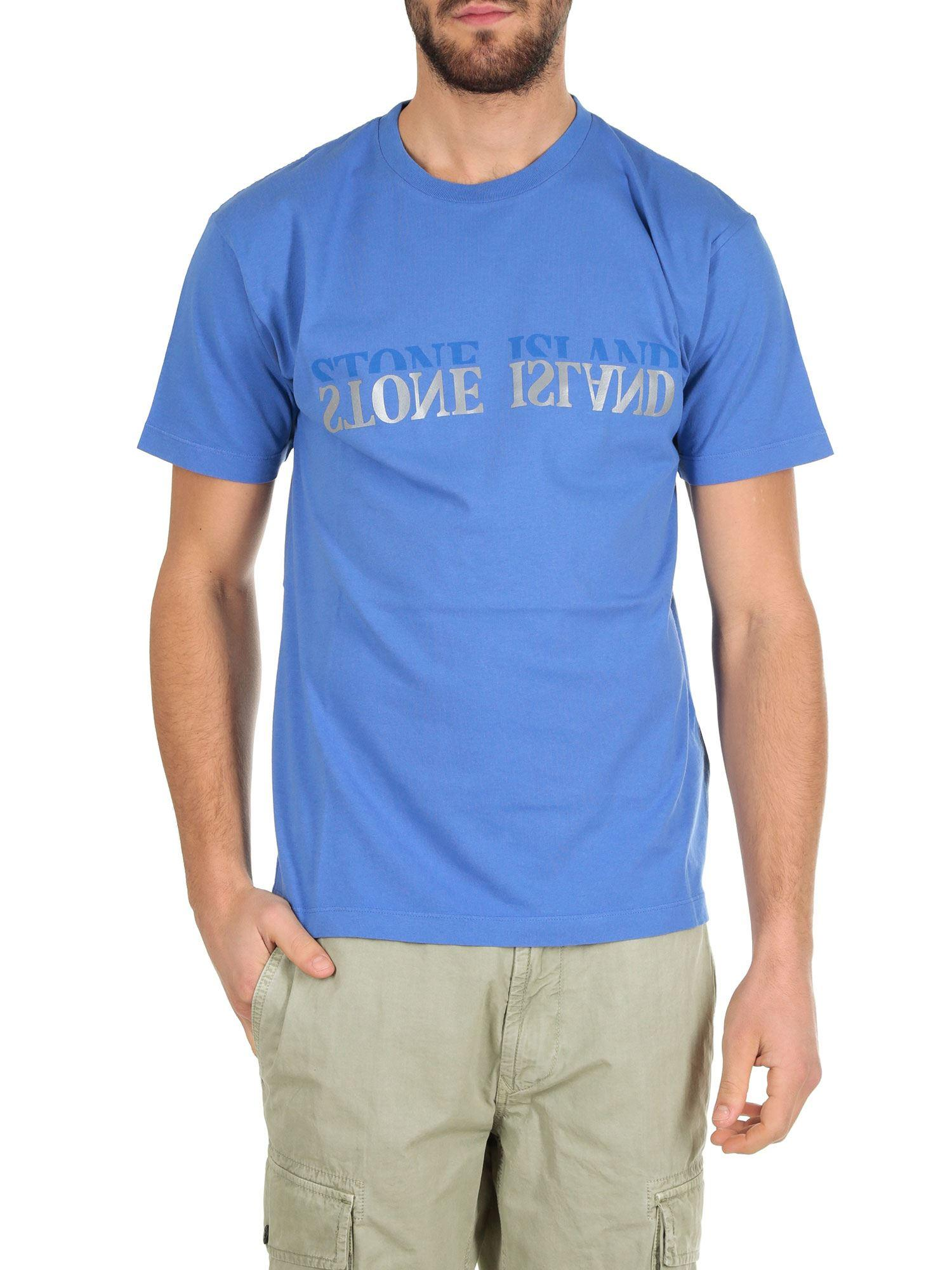 9f431c0c30a2 Lyst - Stone Island Light Blue T-shirt With Reverse Logo in Blue for Men