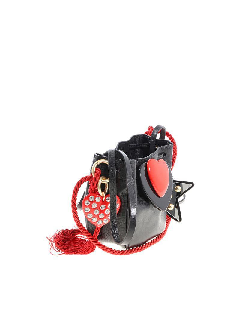 Leather bag with black and red heart Philosophy di Lorenzo Serafini NFfVf818P6