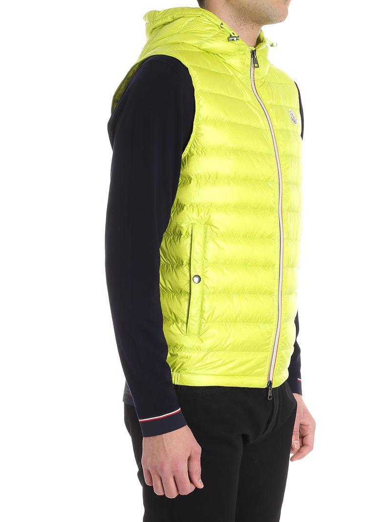 3b4c40697d59 Lyst - Moncler Lime Color Gien Waistcoat in Yellow for Men