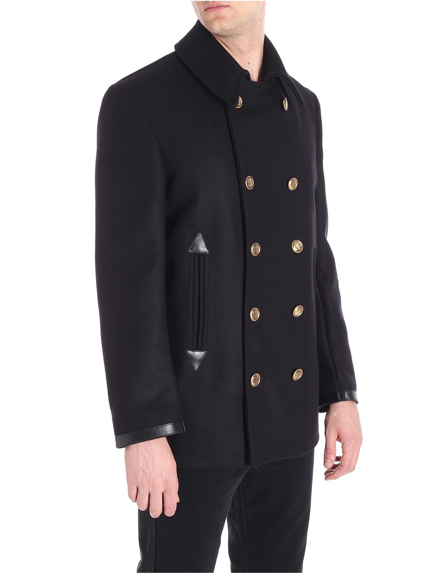 View Lyst Black Givenchy Breasted Fullscreen Men Double Coat For Y00qwd