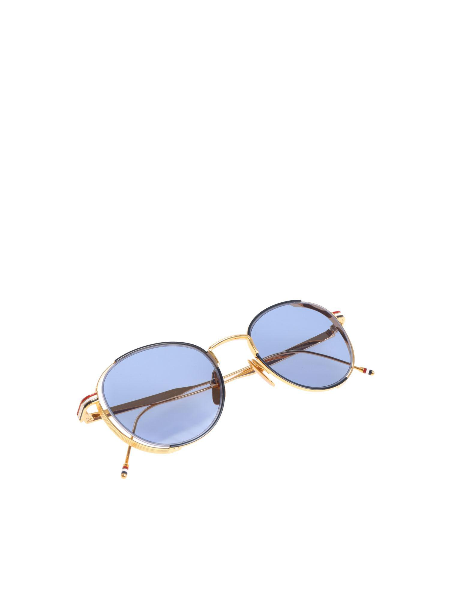 98620b8fda76 Thom Browne Golden Sunglasses With Blue Lens in Blue - Lyst