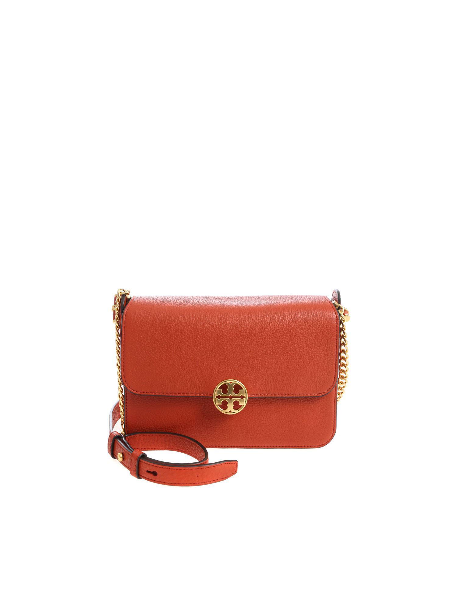 42194317b12 Tory Burch Orange Shoulder Bag With Logo in Orange - Lyst