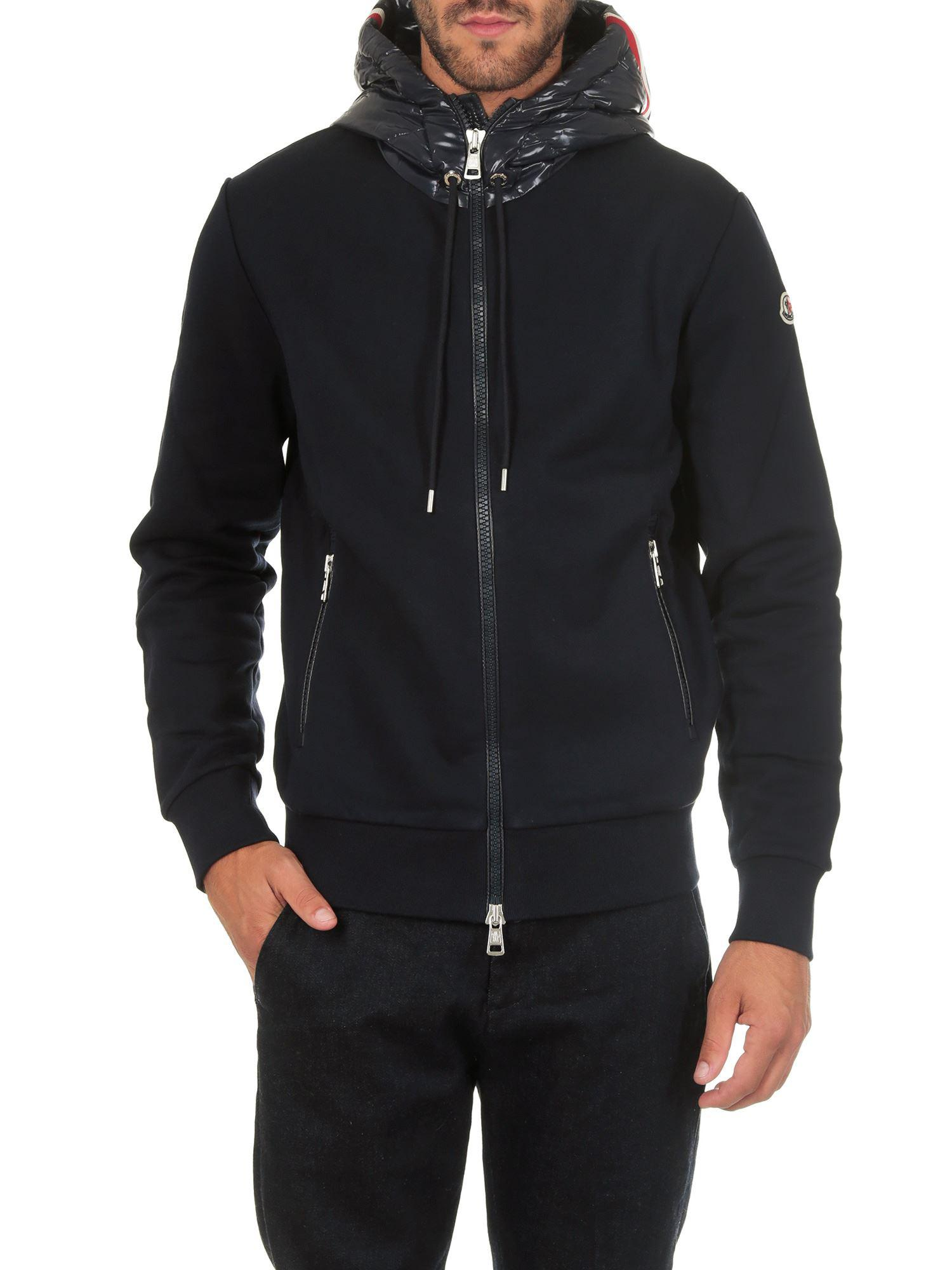 55fbc3d431fa Moncler Blue Sweatshirt With Padded Hood in Blue for Men - Lyst