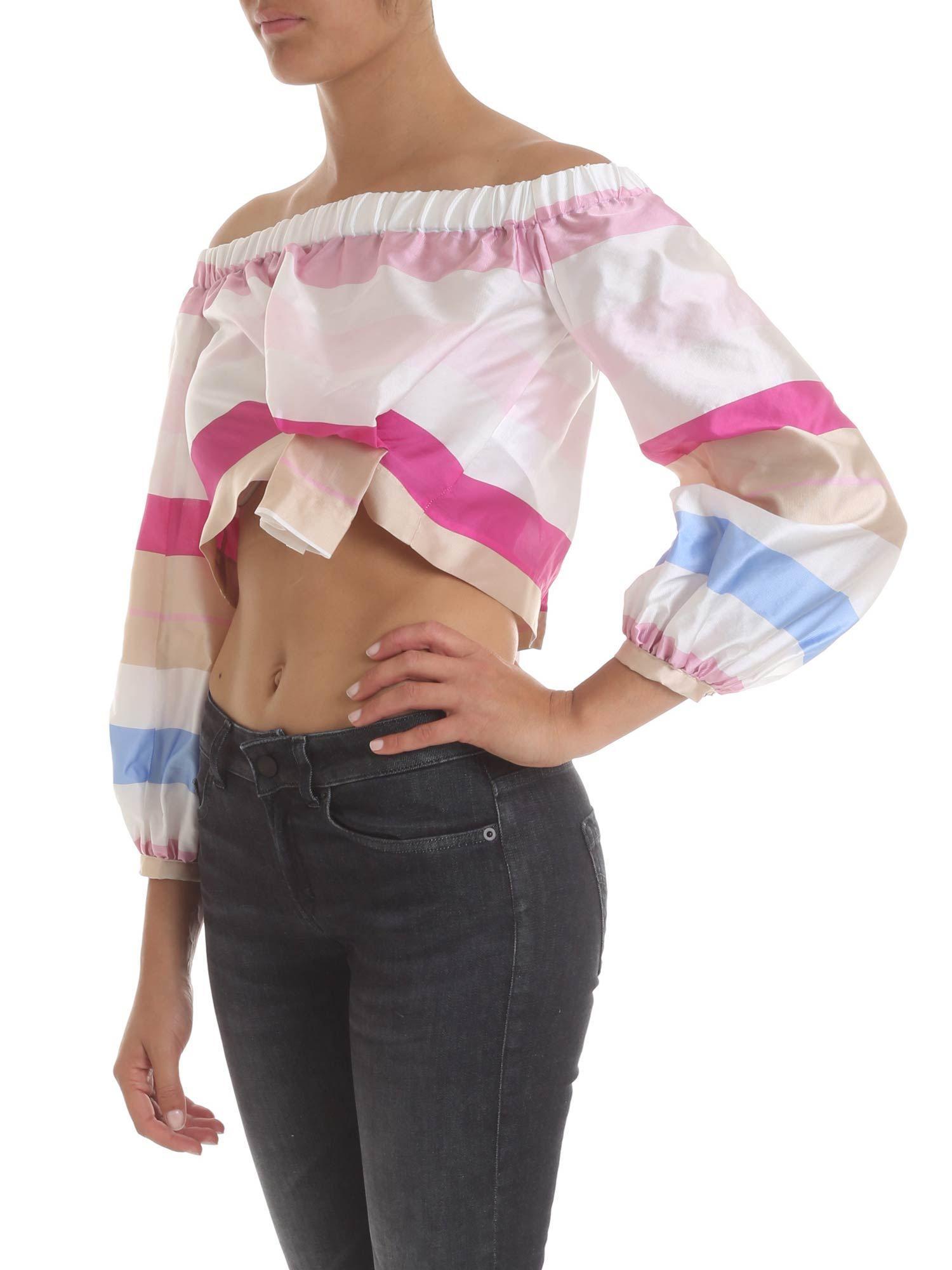 a8e6b6e649b20 Lyst - Manila Grace Crop Top In Striped Fabric in Pink